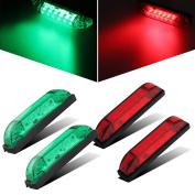 Partsam 4x Boat Navigation LED Lighting RED & GREEN Waterproof Marine Utility Strip Bar