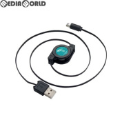 CYBER, a USB rewind charge cable (for New 2DS LL) black X is blue