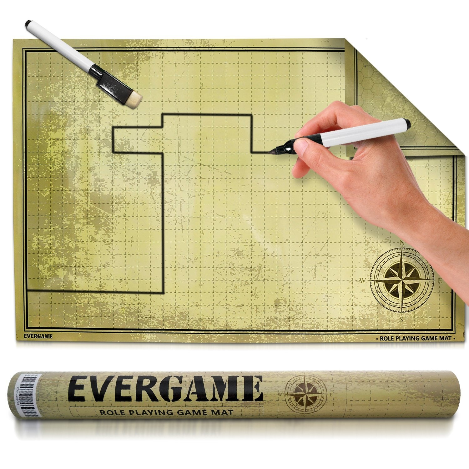 """EverGame Game Mat (24"""" x 36"""") - Double Sided Square and Hex Grid Role Play  Mat - 2 Free Black Markers - Non Stain DND Mat - RPG Mat- Hex Map Battlemat"""