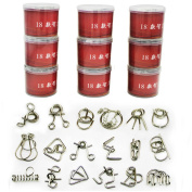 18PCS/Set Metal Puzzle IQ Mind Brain Teaser Magic Wire Puzzles Game Toys for Children Adults