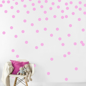 Pink Wall Decal Dots (200 Decals)   Easy Peel & Stick + Safe on Walls Paint   Removable Matte Vinyl Polka Dot Decor   Round Circle Art Glitter Sayings Sticker Large Paper Sheet Set for Nursery Room