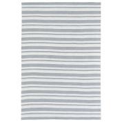Bombay Home Littles Grey & Ivory Stripe Microfiber Rug (0.6m0m x 0.9m0) - 0.6m x 0.9m