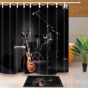 KOTOM Music Decor, Grunge Concert Instruments Guitar and Drum in Black, 180cm X 180cm Mildew Resistant Polyester Fabric Shower Curtain Suit With 40cm x 60cm Flannel Non-Slip Floor Doormat Bath Rugs