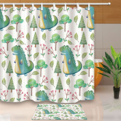 KOTOM Kids Shower Curtains for Bathroom, Cartoon Dinosaur in Trees and Flowers, 180cm X 180cm Mildew Resistant Polyester Fabric Shower Curtain Suit With 40cm x 60cm Flannel Non-Slip Floor Doormat Bath Rugs