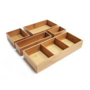 Seville Classics 5-Piece Bamboo Storage Box Drawer Organiser Set with 3 Compartment Organiser Box