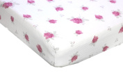 Crib Sheets - Ultra Soft - by Margaux & May - 100% Muslin Cotton with pink flowers, great gift for girls - Fits Standard Mattress for Babies and Toddlers