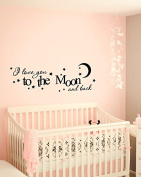 Wall Decal Vinyl Sticker Decals Art Decor Design I love you to the moon and back Baby room Love Stars Bedroom Nursery Kids Children