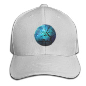 Moon Wolf Magical Tree Brain Adjustable Baseball Caps Unstructured Dad Hat 100% Cotton Black