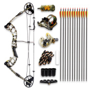 SereneLife Complete Compound Bow & Arrow Accessory Kit, Adjustable Draw Weight 14-32kg with Max Speed 320 fps - Right Handed