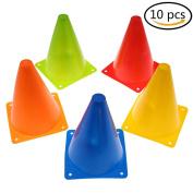 Eshylala 10 Pcs Plastic Sport Training Traffic Cone Multipurpose Football Cones, 18cm