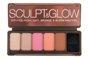 BYS Sculpt and Glow Makeup Highlight Bronze Blush Palette with Brush