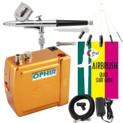 OPHIR Portable Mini Airbrush Air Compressor Kit Dual Action Airbrush Set with Cleaning Brush Adjustable Spray Gun for Hobby Model Crafts