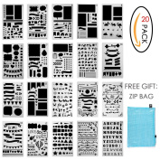 Bullet Journal Stencil Set 20 Pcs Plastic Planner DIY Drawing Template for Diary Notebook Scrapbook Craft Projects