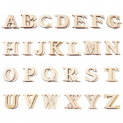 Hicarer 52 Pieces Wood Letters Wooden Alphabets Letter Craft Pieces for DIY Wedding Display Decor