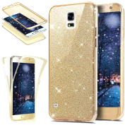Galaxy S5 Case,ikasus [Full-Body 360 Coverage Protective] Crystal Clear Ultra-Slim Sparkly Shiny Bling Glitter Front Back Full Coverage Soft Clear TPU Silicone Rubber Case Cover for Galaxy S5,Gold