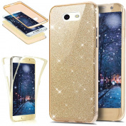 Galaxy J3 Emerge Case,Galaxy J3 2017 Case,ikasus [Full-Body Coverage Protective] Sparkly Shiny Bling Glitter Front Back 360 Full Coverage Soft Clear TPU Silicone Rubber Case for Galaxy J3 2017,Gold