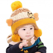 Sunbona Tolddler Baby Girls Boys Cute Winter Warm Hat With Rar Flaps+Woollen Scarf 2PC Set