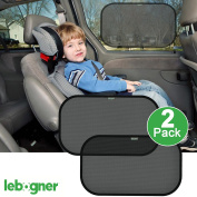 Car Cling Side Window Sunshade By Lebogner - 2 Pack Premium Quality Large Baby Auto Sun Shield, Sun Protector, Blocking over 98% of Harmful UV Rays, Protects Children And Pets From The Sun's Glare