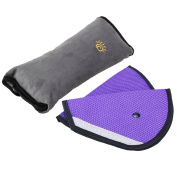 Pretty See Car Seat Cover Belts Child Safety Covers Adjusters (2Pcs,Purple) with Seat Belt Grey Shoulder Pad