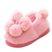 Hongxin Cute Toddler Bow Baby Girls Plush Soft Sole Non-Slip Warm Velvet Snow Shoes Lovely Ball Boots For 6M-3T