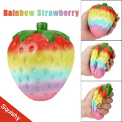 Creazy 12cm Rainbow Strawberry Cream Scented Squishy Toy Slow Rising Squeeze Strap Kids Toy