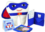 Tooth Fairy Superhero Pillow With Notepad And Keepsake Pouch. 3 Piece Set Includes Boy's Pillow With Pocket, Dear Tooth Fairy Notepad, Keepsake Photo Pouch