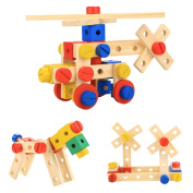 Funmily Wooden Nuts and Bolts Combination DIY Building Construction Toy Set 78 PCS