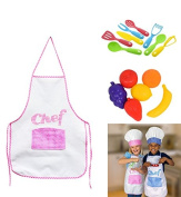 GIRL Kids Cooking Fun Kids Chef Hat Aprons Great for playing playset Kitchen Play Food Utensils & Pot Set Bundle of 5