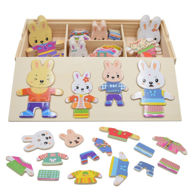 Seprovider Wooden Rabbit Family Dress-Up Puzzle with Storage Case, 72 Pieces, Mix and Match Mama, Papa, Bro, Sis Puzzles, Dress Up Dolls Puzzles Toy for Girl Boy .