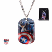 Marvel Men'S Inox Stainless Steel Captain America Dog Tag Pendant Necklace