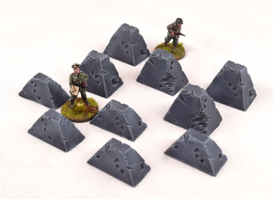 Dragons Teeth Tank Trap Damaged Pack of 10 by WWG – 28mm Wargaming Scenery Bolt Action WWII