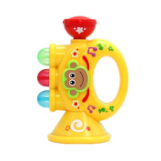 Baby Children Mini Trumpet Horn with Cute Monkey Pattern Toy Educational Musical Instrument Toy yellow