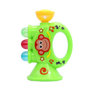 Baby Children Mini Trumpet Horn with Cute Monkey Pattern Toy Educational Musical Instrument Toy green