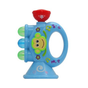 Baby Children Mini Trumpet Horn with Cute Monkey Pattern Toy Educational Musical Instrument Toy blue