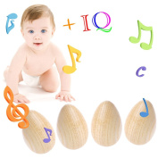 Timberlark 4Pc Wooden Percussion Instrument,Musical Egg Maracas Shakers Toy for Baby/Kids/Band