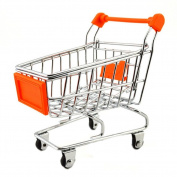 Children Toy Play House Mini Multi-function Shopping Cart-Orange