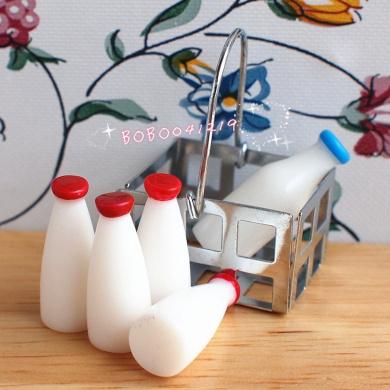Bobominiworld A Basket Of Milk Bottles Dollhouse Miniatures Decoration 1:12 Scale Length 2.5cm White
