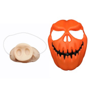 MOLLYCOOCLE Plastic Halloween Pumpkin Head Mask Halloween Scary Cosplay Party Mask with One Half Face Pig Nose Mask