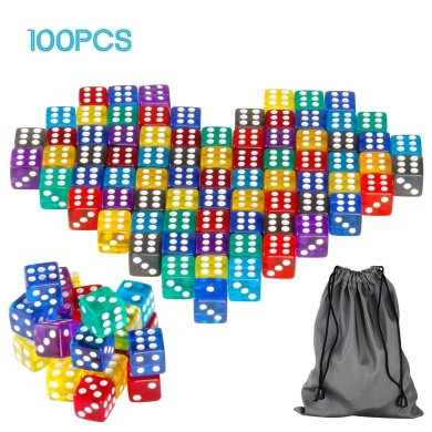 Monilon 6-Sided Dice, 100 Pieces 6-Sided Dice Set 9 Different Colours 15mm for Yahtzee, Liar's Dice, Bunco, Mexico, Shut The Box, Tenzi Dice, Mountain,Pizza Party Game, Going to Boston etc