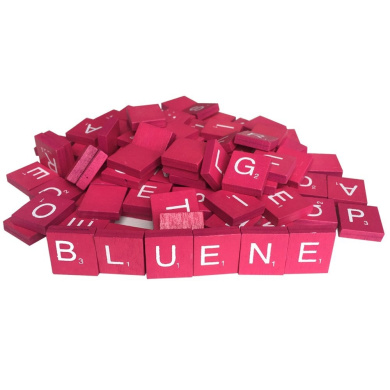 100 Wood Letter Scrabble Tiles - Rose Colour - 1 Complete Sets - Game Replacement Crafts Weddings Scrapbooking