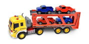 Maxx Action Realistic Long-Haul Toy Vehicle Transport Playset with Lights and Sound