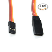 IDS Silicone Wire JR Style Servo Extension Cable, 22AWG 60 Cores Wire Male to Female Futaba JR, 30cm , 5 Pcs