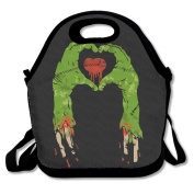 Zombie Hand Making Heart Lunch Tote Insulated Reusable Picnic Lunch Bags Boxes For Men Women Adults Kids Toddler Nurses