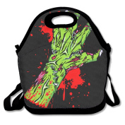Green Zombie Hand Lunch Tote Insulated Reusable Picnic Lunch Bags Boxes For Men Women Adults Kids Toddler Nurses