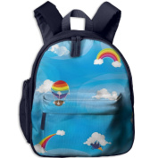 Hot Air Balloon And Clouds Little Durable Printing Shoulders Kid' Bag For Child School Kindergarten Backpacks 32cm tall,10cm deep,27cm wide