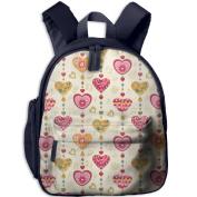 Colourful Heart Love Fashion Lightweight Printing Shoulders Kid' Bag For Children School Kindergarten Backpacks 32cm tall,10cm deep,27cm wide