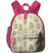 Cactus Cacti Small Pattern Printing Shoulders Kid' Bag For Teens School Kindergarten Backpacks 32cm tall,10cm deep,27cm wide