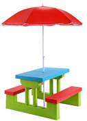 K & A Company Picnic Table Folding Kids Outdoor Bench Children Umbrella Garden Portable Yard Seat Play Furniture Benches Patio Indoor Lime