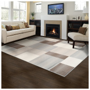 Superior Designer Clifton Collection Area Rug, 8mm Pile Height with Jute Backing, Contemporary Geometric Design, Anti-Static, Water-Repellent Rugs - Beige, 0.6m x 0.9m Rug