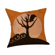 "Tharv Throw Pillow Cover 18""x18""(approx 45x45cm) Cotton Linen Cushion Cover with Zipper Sofa Waist Black Bird Happy Halloween Festival Home Decoration"